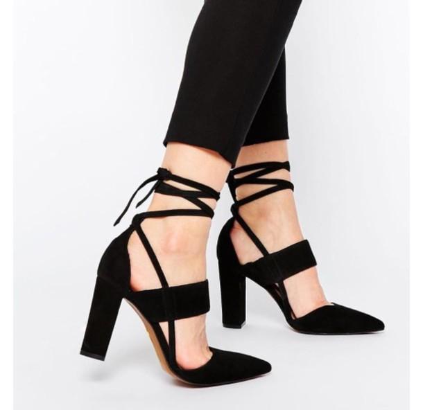 5028ca5de30 shoes heels black heels strappy heels thick heel high heels black strappy