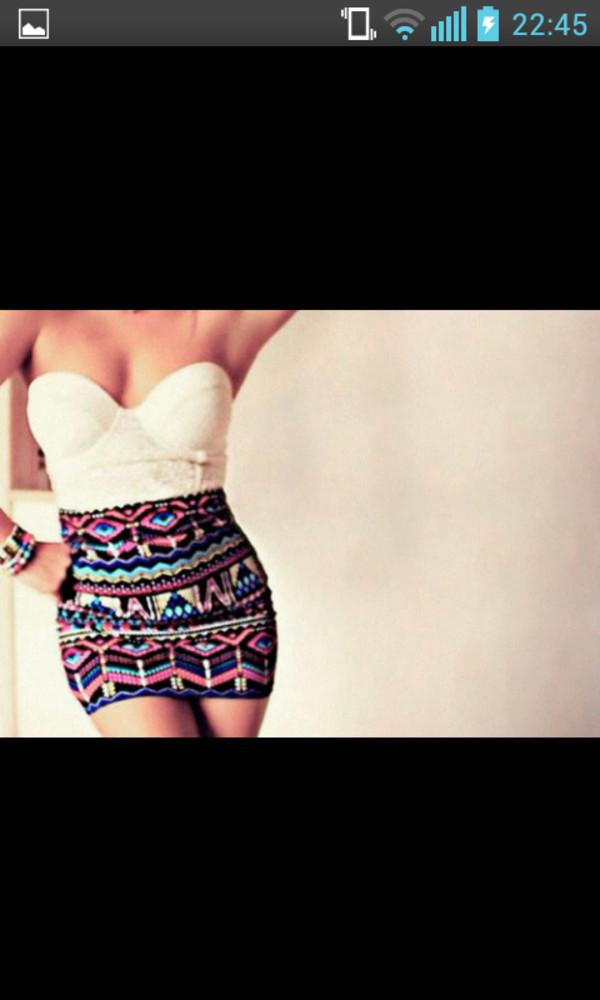 shirt lace bustier white aztec skirt skirt