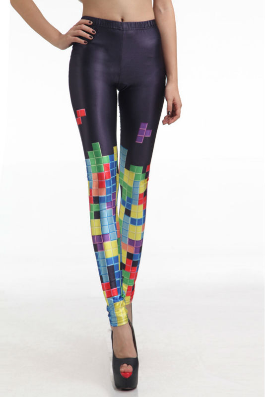 New arrival! wholesale free shipping! 2013 leggings for women colorful tetris digital printing elasticity tight pants elastic