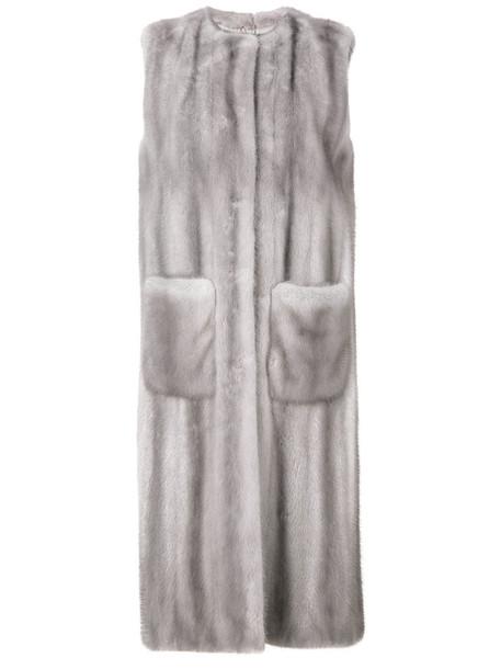 coat long coat sleeveless long fur women silk grey