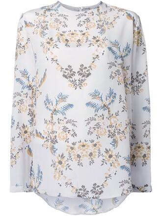 t-shirt shirt long floral white top