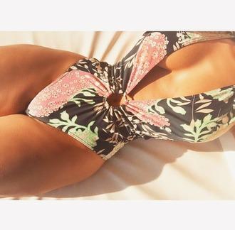 swimwear floral swimwear deep v neck bodysuit low cut bodysuit