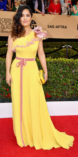 jacket sag awards yellow yellow dress salma hayek red carpet dress one shoulder dress one shoulder gown prom dress dress