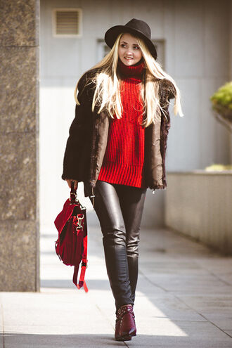 my blonde gal blogger hat red sweater leather pants red bag winter outfits winter coat