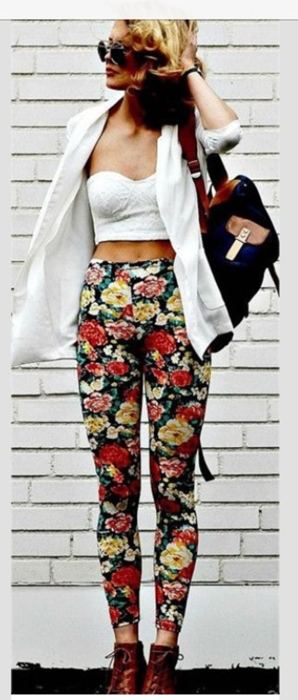 pants floral hipster summer outfits tank top