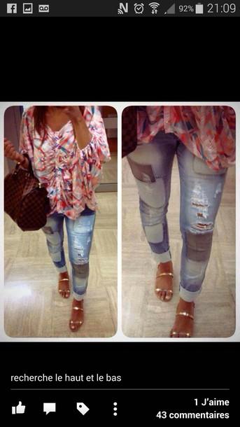 jeans dechirer top