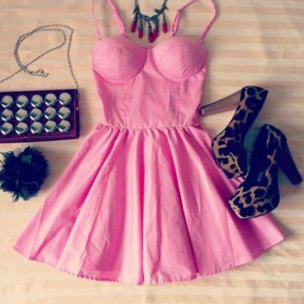 Dress Pink Dress Hot Pink Dress Cute Dress Mini Dress Bustier Dress Clothes Coat Pink