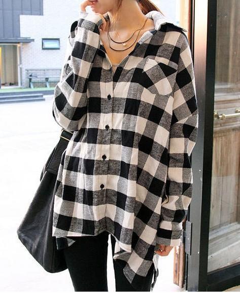 Black And White Checkered Womens Shirt