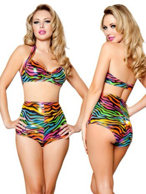 swimwear animal print high waisted colorful rainbow swimwear zebra swimwear high waisted bikini