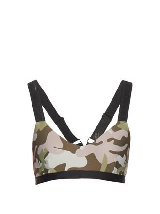 bra sports bra camouflage print green underwear