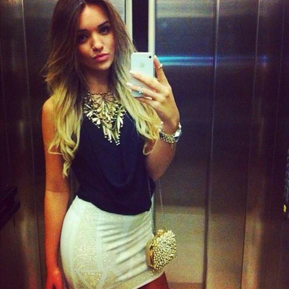 black top top gold skirt white skirt white and gold skirt gold handbag jewels