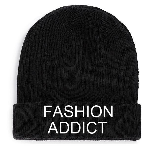 Fashion Addict Beanie Black Hat Embroidery fashion retro lov... - Polyvore