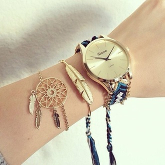 jewels watch hippie feathers jewelry dreamcatcher dreamcatcher bracelet stacked bracelets bracelets gold boho