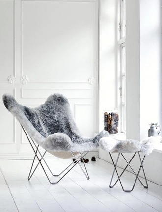 home accessory chair faux fur cozy lazy day grey hipster home furniture