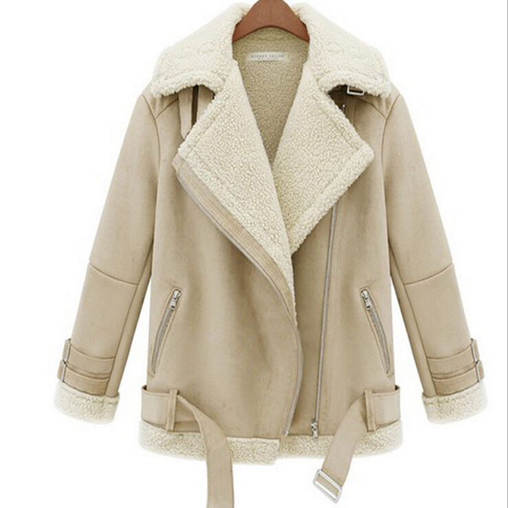 Winter Jacket Fashion Faux Sheepskin Shearling Coat Ladies Thick