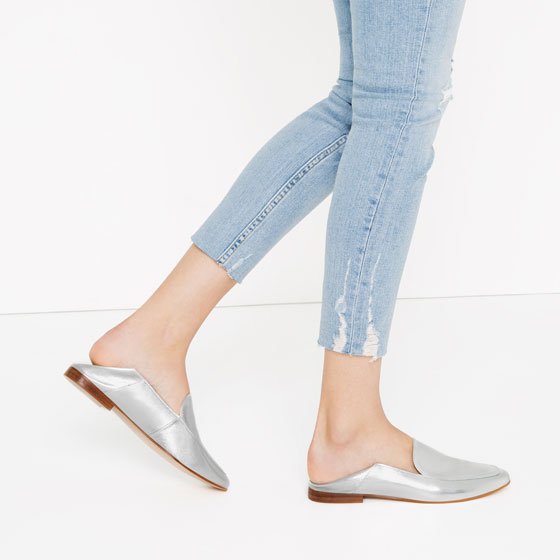 ab6206fab METALLIC LEATHER LOAFERS - Leather-SHOES-WOMAN