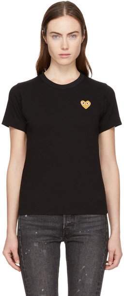 Comme Des Garcons Play t-shirt shirt t-shirt heart gold black black and gold top