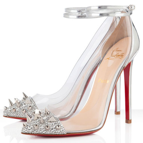 shoes christian louboutin 120mm christian louboutin just picks 120 studded patent leather and pvc pumps sliver sliver redbottoms sold out pumps sparkly heels pumps floral