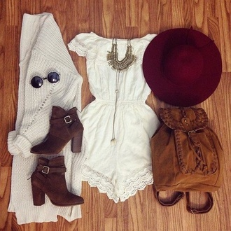 romper white romper short
