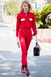pants,shirt,red,romee strijd,monochrome,model off-duty,top