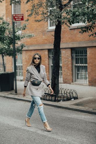 bag tumblr blazer grey blazer belt bag denim jeans ripped jeans sandals sunglasses