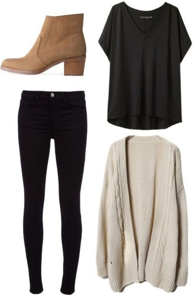 sweater fashion cardigan white cardigan comfy boots brown boot t-shirt skinny jeans skinny pants black pants