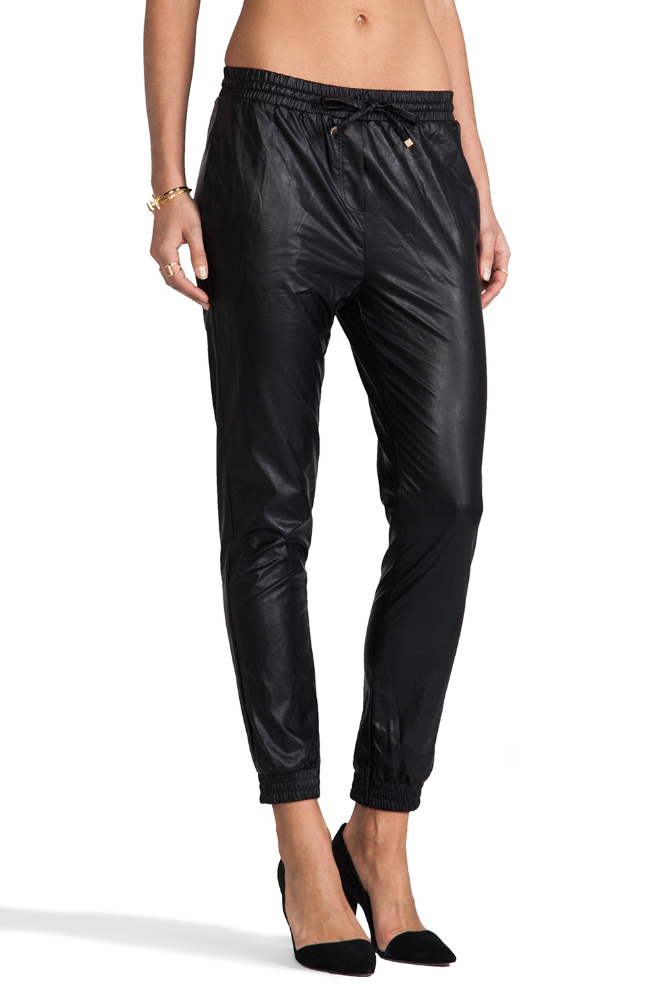 Line & Dot Faux Leather Trackies in Black | REVOLVE