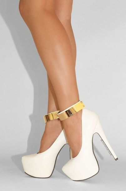 Shoes: heels, girl, high heels, gold, shorts, stilettos, white ...