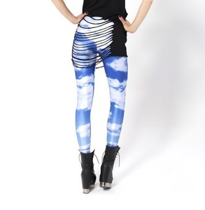 Multicolored Sky Cloud Galaxy Printed Stretchy Tights Jeans ...