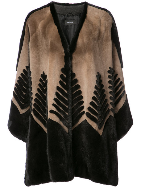 Yigal Azrouel cape fur women victorian brown top