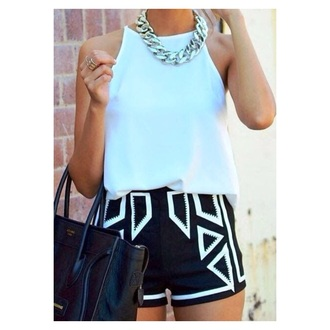 shorts style geometric jewels top