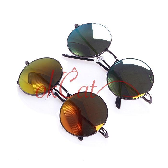 Round Frame Mirror Lens Sunglasses Eyeglasses Glasses ...