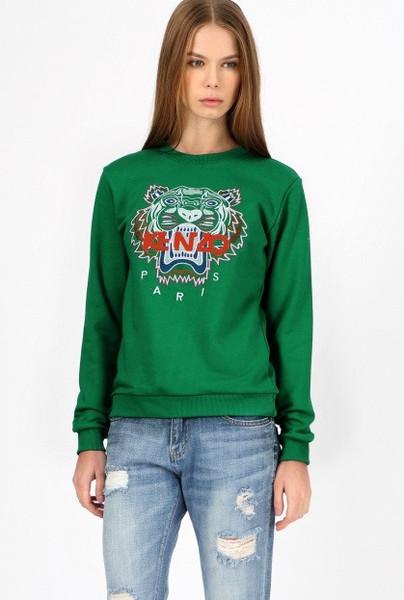 Tiger Head Sweater- Green – Glamzelle