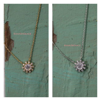 jewels flowers silver gold necklace delicate crystal amazinglace