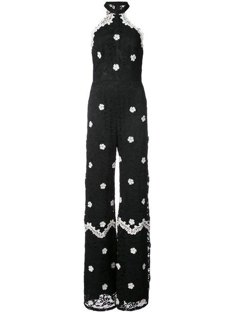 Alexis jumpsuit embroidered women spandex floral cotton black