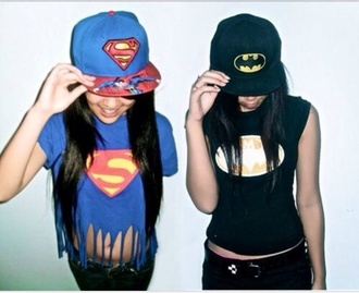 superman batman shirt hat