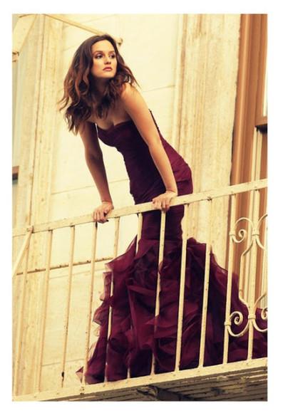 dress gossip girl leighton meester burgundy red red dress long dress red long dress mermaid dress red mermaid