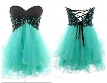 Lace ball gown sweetheart mini prom..