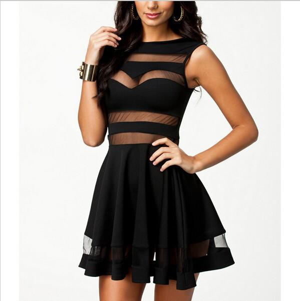 feclothing                  - Black Sexy Mesh Panel Club Skater Dress Ladies Transparent Mini Party Summer Dresses