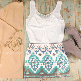 skirt tribal pattern mint sequins summer shorts shoes dress white bow top cute dress tank top white t-shirt ruffle white ruffles lace blouse blue aztek