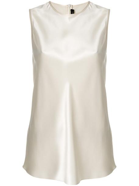 Joseph tank top top back zip women white silk satin