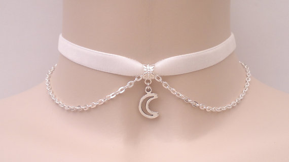 Cute Outline Crescent MOON Charm With SP Chain by TwirlyTrinkets