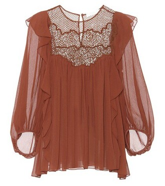 blouse lace silk brown top