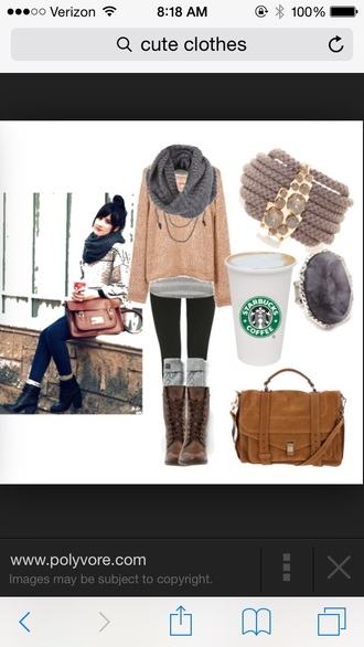 bag jewels purse jewelry bracelets necklace shoes socks tank top boots sweater gray scarf starbucks brown brown leather boots boot socks cuffs