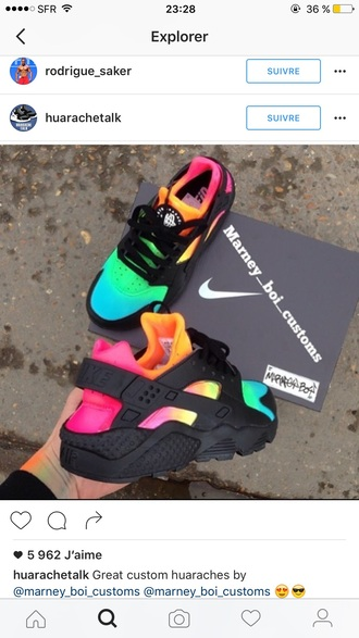 shoes huarache nike colorful multicolor colorful nikes low top sneakers