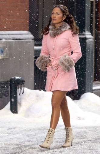 coat j-lo jenifer lopez pink fur