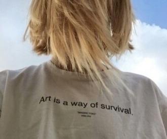t-shirt shirt tees girl printed shirt art survival grey tumblr