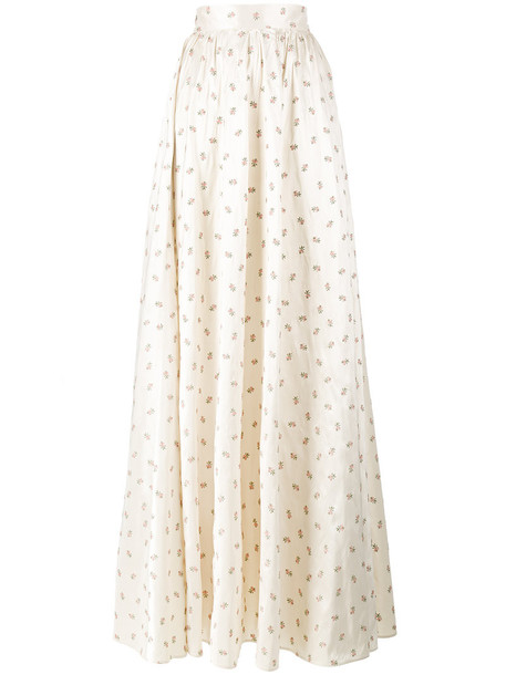 Ronald Van Der Kemp skirt embroidered women full length floral nude silk