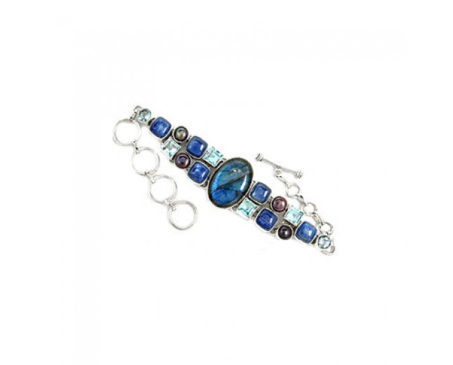 Amazing 925 sterling silver Labradorite And Kyanite Gemstone Cluster Bracelet