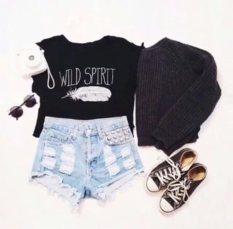 sweater t-shirt shorts skirt